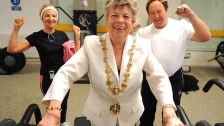 Southwold mayor Sue Doy during her mayoral year taking part in a sponsered cycle and treadmill relay