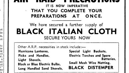Newspaper advert from the Eastern Evening News from 6 September 1939. Photo: Archant Library