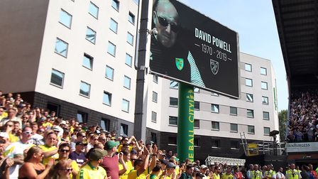 In the 49th minute the home fans pay tribute to Norwich fan David Powell who passed away in tragic c