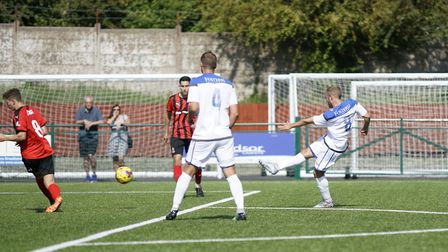 Andrew Fisk scoring for Lowestoft at Redditch Picture: Shirley D Whitlo.