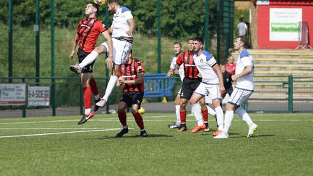 Lowestoft's Miguel Lopez in action at Redditch Picture: Shirley D Whitlow
