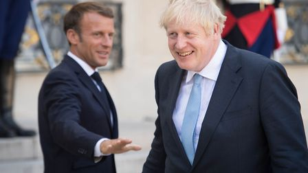 Prime Minister Boris Johnson and French President Emmanuel Macron at the Elysee Palace in Paris foll