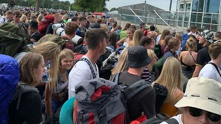 People queuing to get into the campsite at the Sundown festival at the Norfolk Showground. Picture T