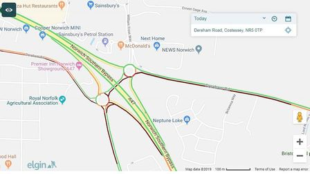 Delays on the A47 as campers head to Sundown Festival at the Norfolk Showground Credit: Google Maps