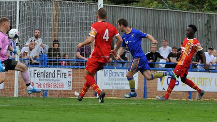 Adam Marriott score a late equaliser for King''s Lynn Town against Gloucester City Picture: Jamie Ho
