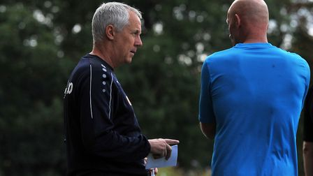 Plenty to think about for Ian Culverhouse and assistant manager Paul Bastock during the game against
