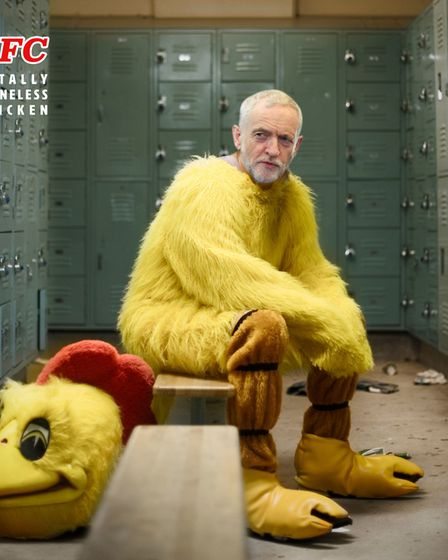 Conservative Party photo from their latest advert showing the Labour leader Jeremy Corbyn as a chick