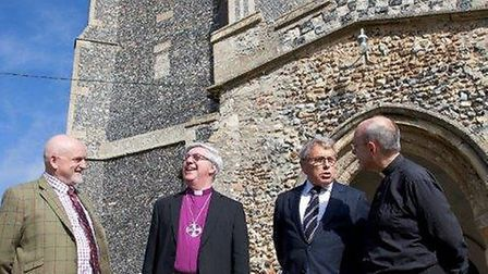 Roof Alarm Scheme: From left to right: DC Andy Brown, The Bishop of Norwich, the Rt Revd Graham Jame