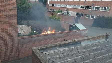 A fire broke out in the open in Templemere, Norwich. Picture: Submitted