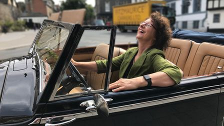 Georgina Postlewaite, Sales Manager of the Maid's Head Hotel, in their new 1950's mark VI drophead B