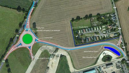 The northern of two roundabouts planned for the A140 near Eye Airfield. Picture: Suffolk County Coun