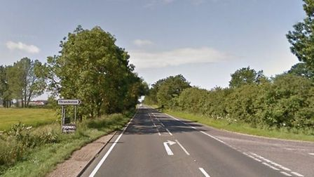 The existing stretch of the A140 at the junction for Thrandeston near Eye Airfield where there are p