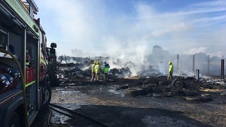 Firefighters worked for more than 24 hours to bring the fire under control at a farm in Southgate, n