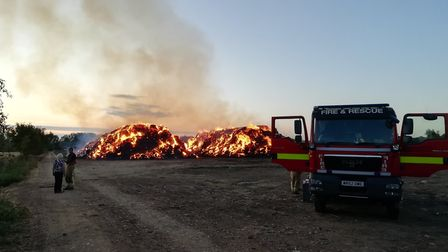 Scenes of the large strawstack fire in Wereham on Sunday, September 8. Picture: MATTHEW FARMER