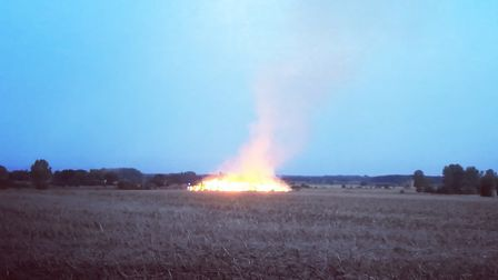 The large strawstack fire on College Road in Wereham, near Downham Market. Picture: KING'S LYNN POLI