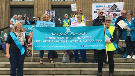 The Norfolk Broads PAIN group held a rally to protest changes to the women's state pension age in No
