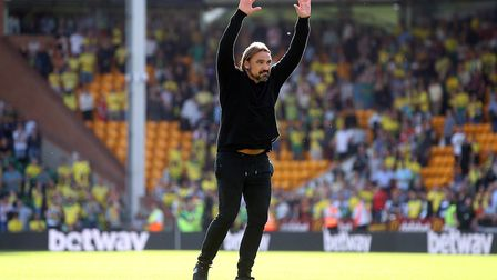 Norwich Head Coach Daniel Farke celebrates victory with the Barclay End at the end of the Premier Le