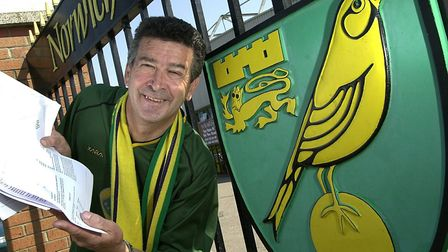 Norwich City fan Roger Smith, pictured at Carrow Road. Picture: James Bass