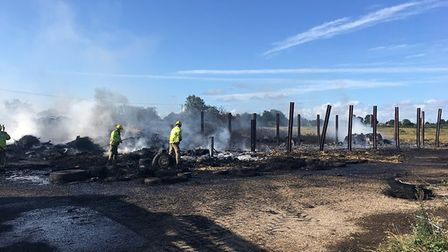 Firefighters are working to bring the remainder of a fire under control at a farm in Southgate, near