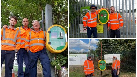 Staff at the Kettringham, King's Lynn and Strumpshaw recycling centres with defibrillators. Picture: