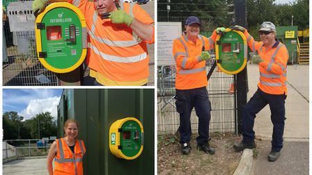 Staff at the Mayton, Wells and Mile Cross recycling centres with defibrillators. Picture: Norfolk Co