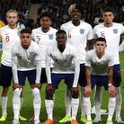 Norwich City pair Ben Godfrey (back, second right) and Max Aarons (front, second left) in the Englan