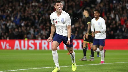 Manchester City's Phil Foden celebrates putting England in front Picture: PA