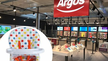 Argos stores in Norfolk have issued an urgent recall of the Cuggl high chair (inset). Picture: Archa