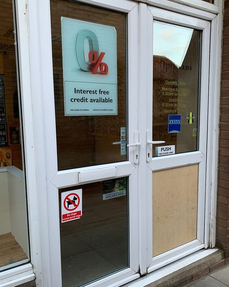 The broken window panel has been bordered up and will be repaired later today. Picture: Sarah Hussai
