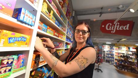 Lauren Hale, shop assistant, at the Gifted store on London Street, Norwich. Picture: Jamie Honeywood