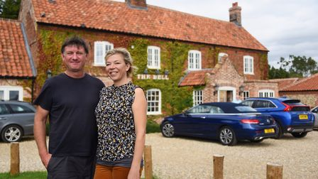 Owners of the Brisley Bell, Amelia Nicholson and Marcus Seaman, winners of the Pub of the Year 2019