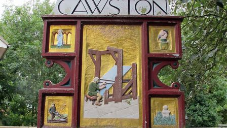 Cawston village sign. Pictured: ARCHANT LIBRARY.
