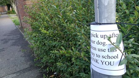 A number of signs have appeared in Cawston after dog poo was left outside the primary school. Pictur