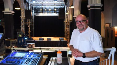 Norwich Arts Centre director, Pasco-Q Kevlin, in the new-look auditorium after a major refurbishment