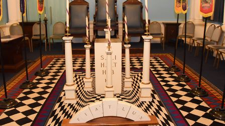Banners of the 12 Tribes from Israel and props in the Hamen Le Strange Temple in the Provincial Free