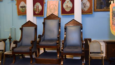 Chairs for the hierarchy in the Hamen Le Strange Temple in the Provincial Freemason Grand Lodge of N