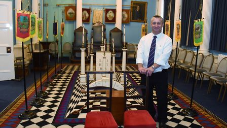 Brian Nestor, member of the Cabbell Lodge and museum curator, in one of the temples, the Hamen Le St