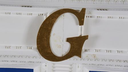 The G in the centre of the ceiling in one of the temples in the Provincial Freemason Grand Lodge of