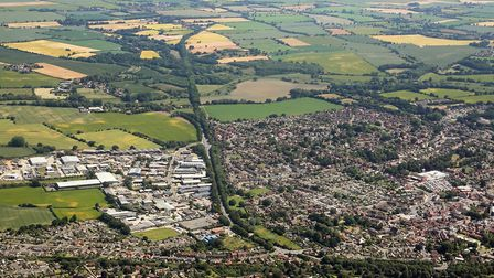 Aerial shot of North Walsham. Picture: Mike Page
