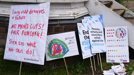 Protest signs for the march against government 'under-funding' of education for children with specia