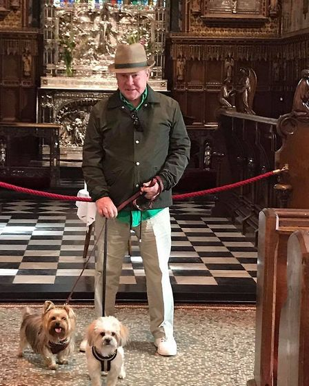 David Van Day with two of his three dogs at St Mary Magdalene Church, Sandringham on a previous trip