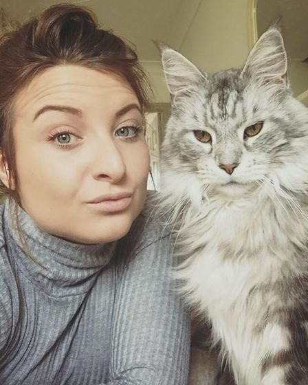 Leah Snowden with Lord Rufus, who she adopted from the Downham Market Cat's Protection centre. Pictu