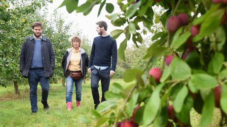 Nina Plumbe who is passing over the running of her plum orchard near Burnham Market to her cousins B