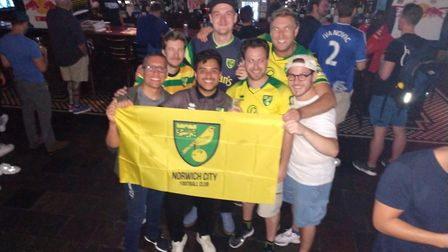 New York Canaries at The Football Factory at Legends in New York to celebrate Norwich's epic win ove