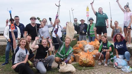 Volunteers with some of the rubbish they cleared from North Denes, Lowestoft as part of the EDP's Bi