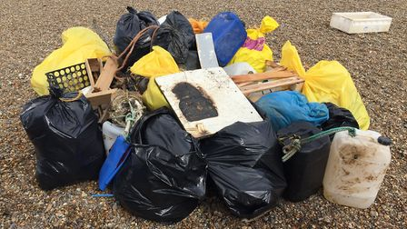 The result of a litter pick at Blakeney in 2015 PICTURE: Helen Johns, National Trust