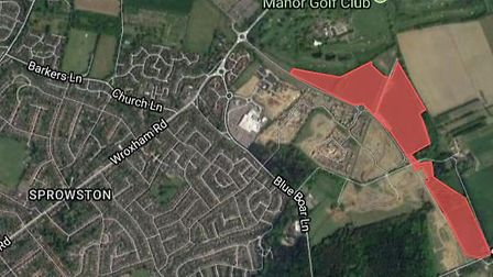 More than 500 homes could be built off Salhouse Road in Sprowston. Picture; Google
