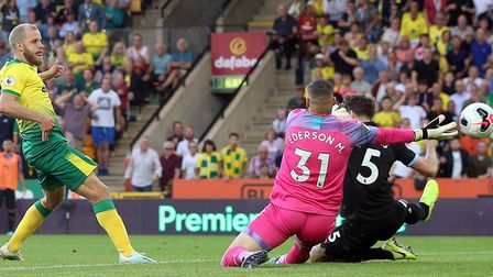 Teemu Pukki slots Norwich City's winner in a 3-2 success against Manchester City Picture: Paul Chest
