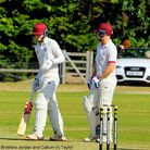 Brothers Jordan and Callum Taylor take a breather during Swardeston's final EAPL match of the season