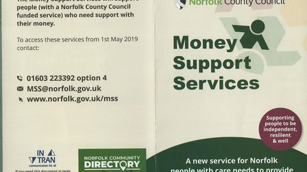 Money advice leaflets given out by Norfolk County Council: Picture: Supplied